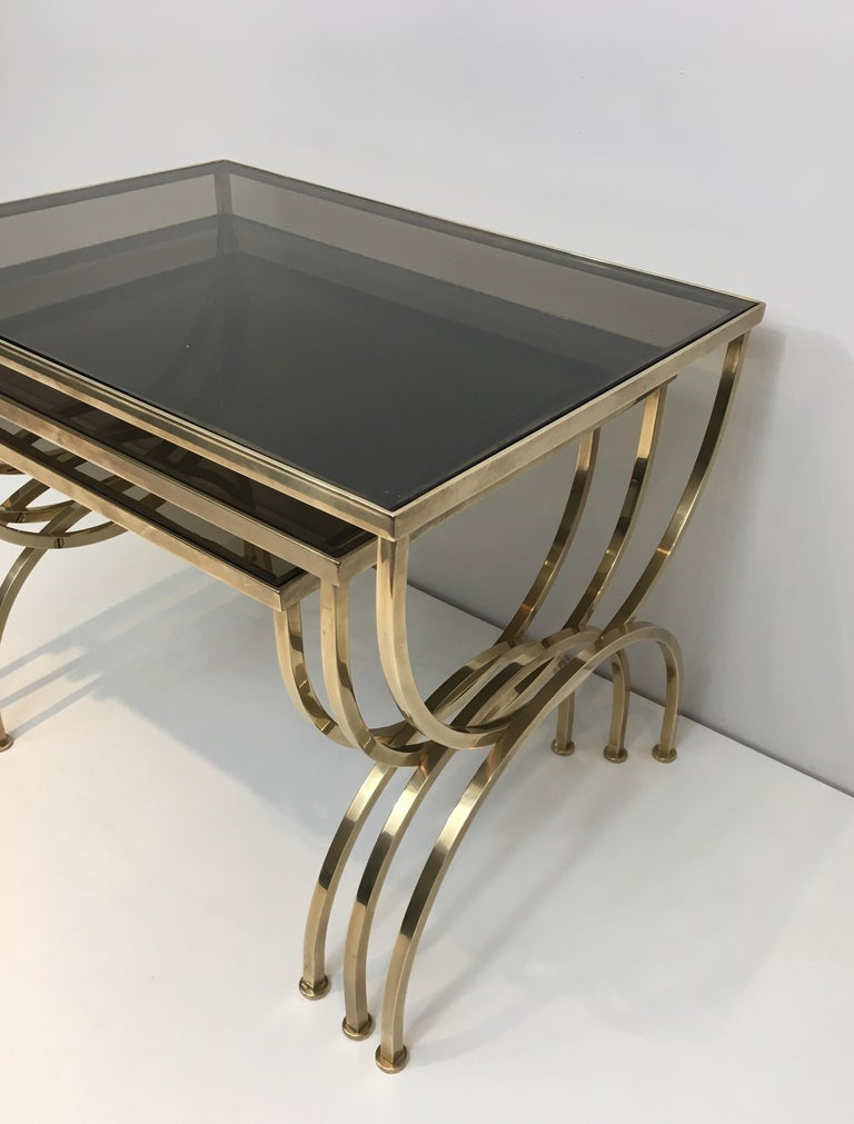 Set of 3 Brass Nesting Tables  For Sale 1