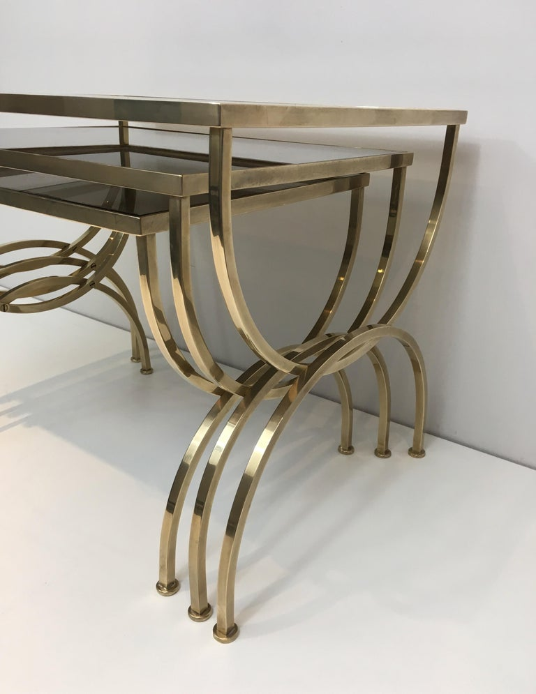 Set of 3 Brass Nesting Tables  For Sale 2