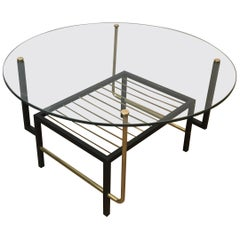 Attributed to Mathieu Matégot. Rare Black Lacquered and Brass Round Coffee Table
