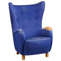 Attributed to Mogens Lassen Upholstered Wing Chair / Lounge Chair Blue, 1940s