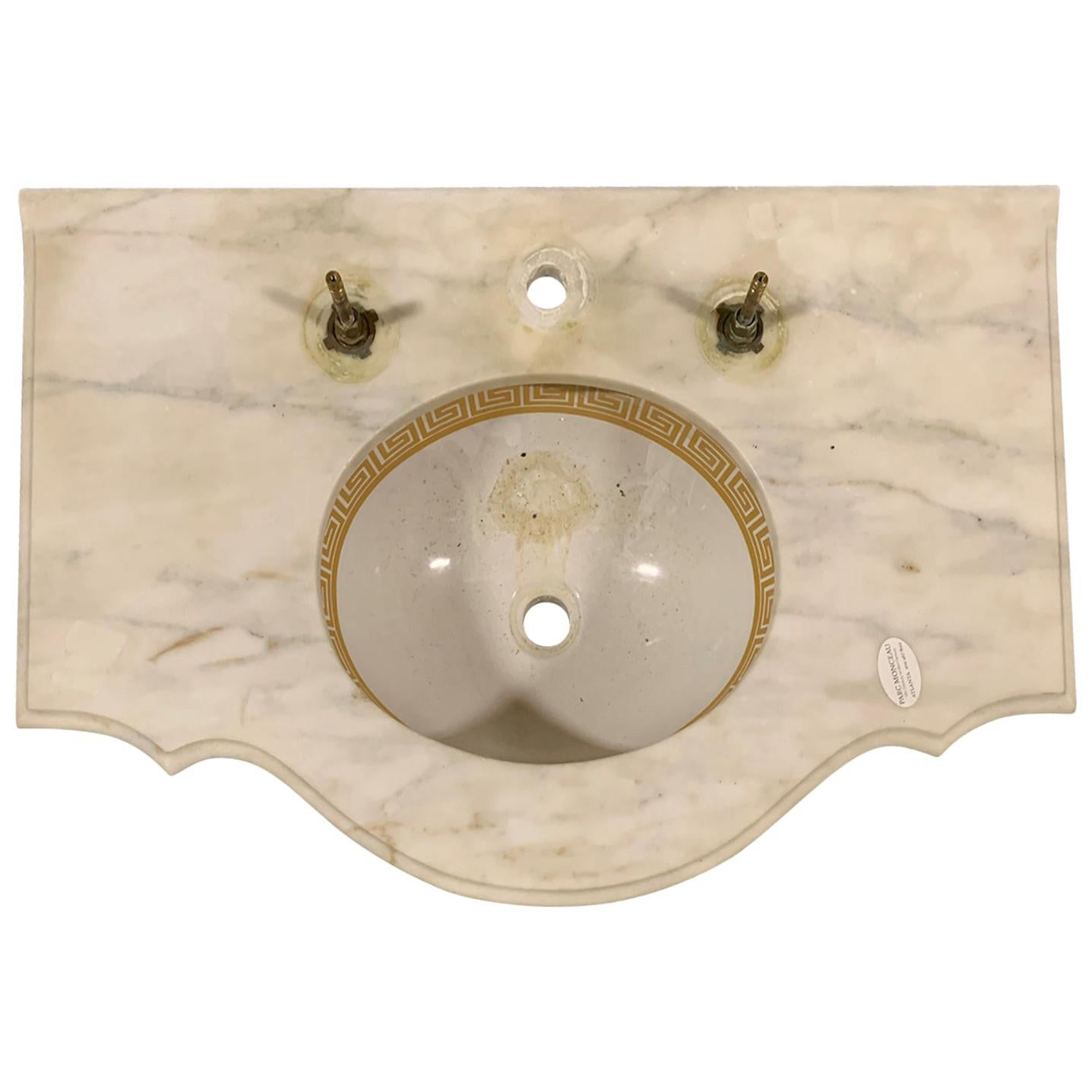 Attributed to Sherle Wagner circa 1960s Marble Sink, Gilt Greek Key Edging