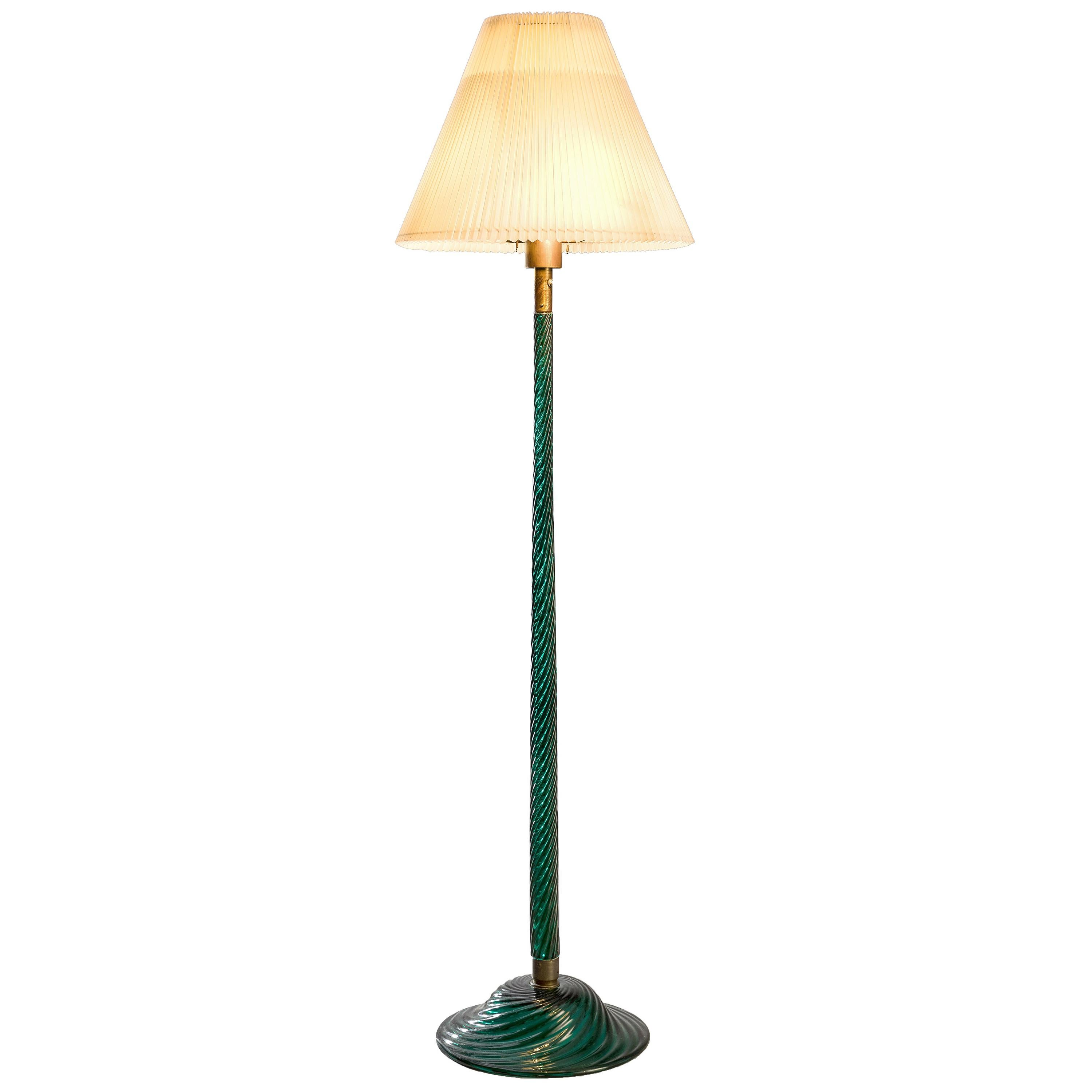 Attributed to Venini Floor Lamp in Green Glass