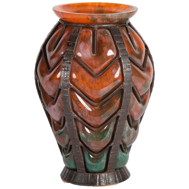 Attributed to Verreries D'art Lorrain for Daum, Art Deco Glass Vase, France For Sale