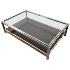 Attributed to Willy Rizzo, Large Chrome and Brass Coffee Table, circa 1970