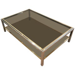 Attributed to Willy Rizzo, Large Chrome and Brass Coffee Table with Smoked Glass