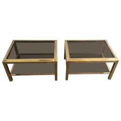 Attributed to Willy Rizzo, Pair of Large Brass Side Tables with Smoked Glass