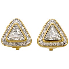 Attwood & Sawyer Gold Plated and Clear Rhinestone Clip On  Earrings
