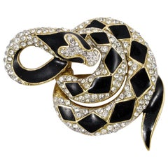 Attwood & Sawyer Gold Plated Black Enamel and Clear Rhinestone Snake Brooch