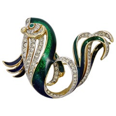 Attwood & Sawyer Gold Plated Green and Blue Enamel and Rhinestone Fish Brooch