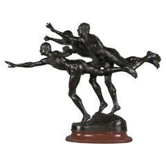 'Au But' a Patinated Bronze Figural Group by Alfred Boucher. French, 1890