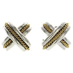 Au Tiffany & Co. 18K Yellow Gold 925 Sterling Silver Large X-Crossover Earrings