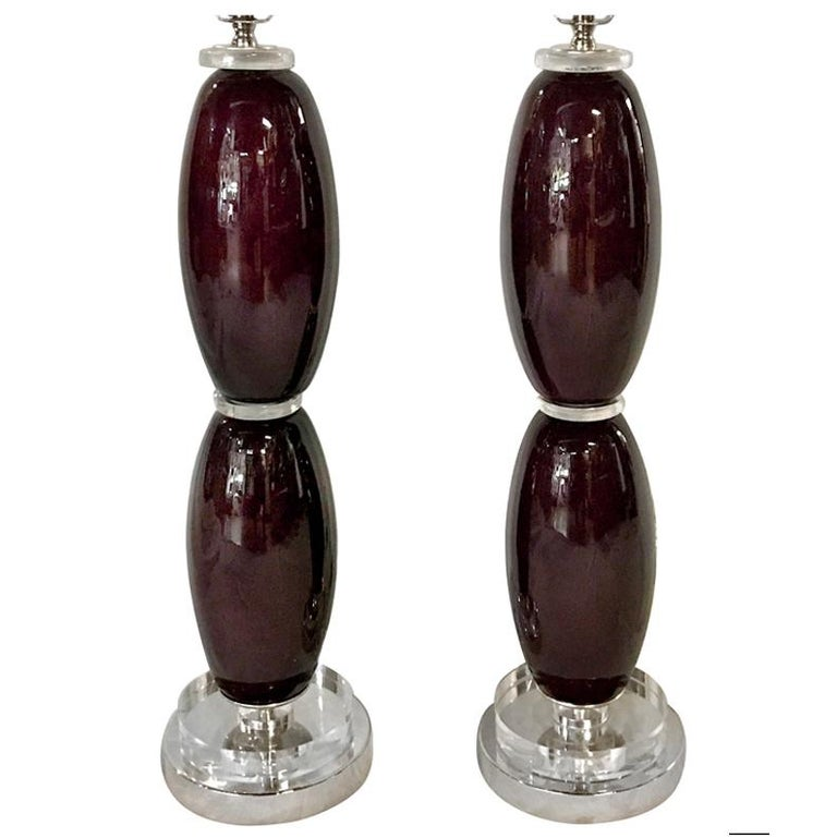 Aubergine Colored Glass Table Lamps For Sale