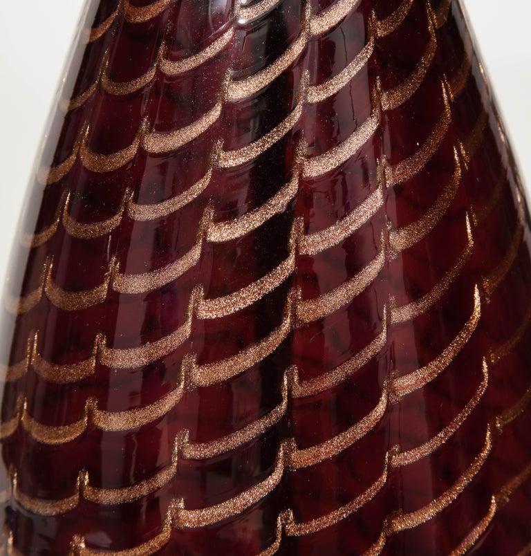Aubergine Murano Glass Lamps For Sale 3