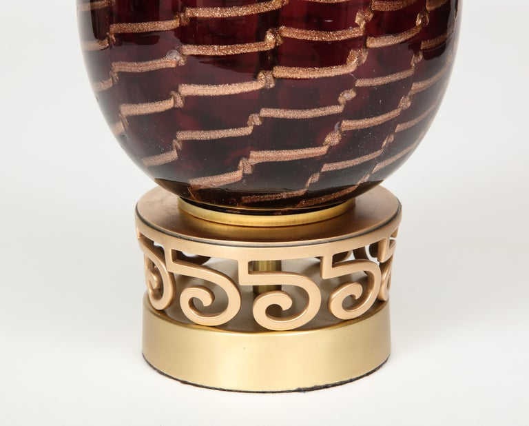 Aubergine Murano Glass Lamps For Sale 4