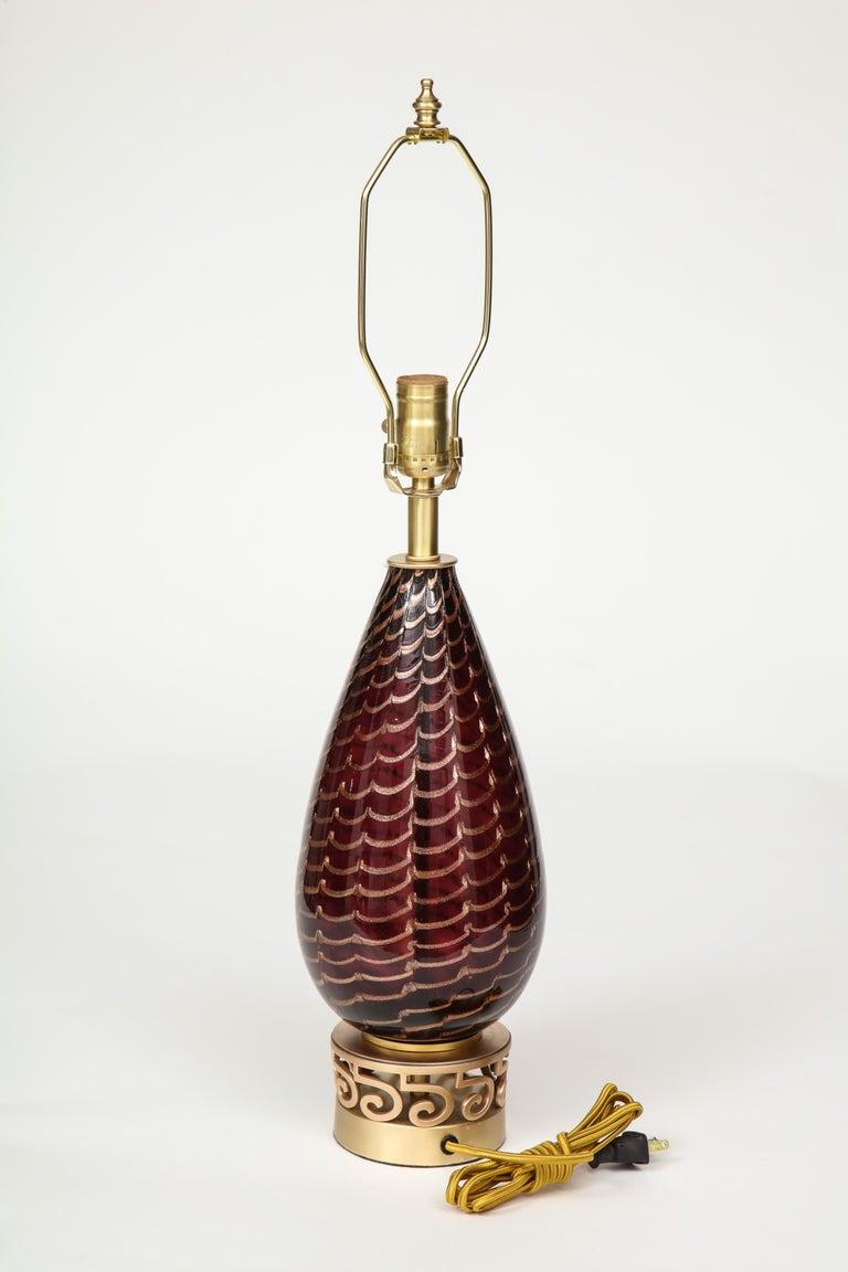 Italian Aubergine Murano Glass Lamps For Sale