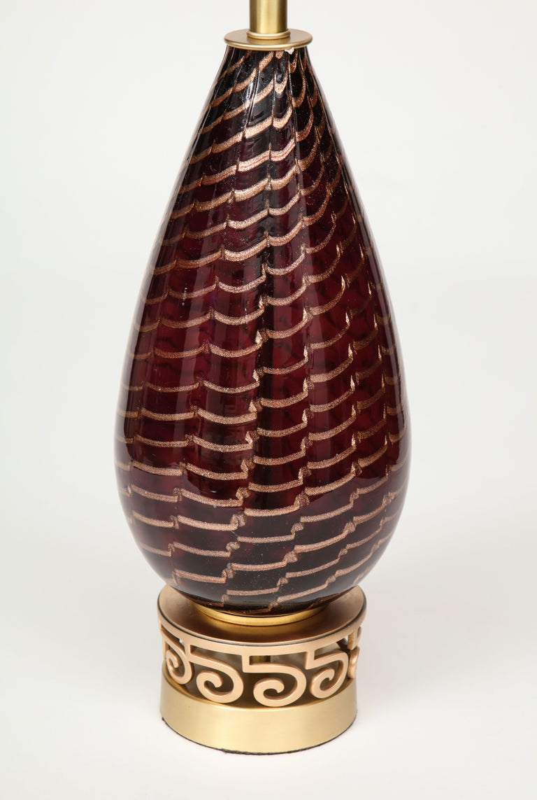 Aubergine Murano Glass Lamps In Excellent Condition For Sale In New York, NY