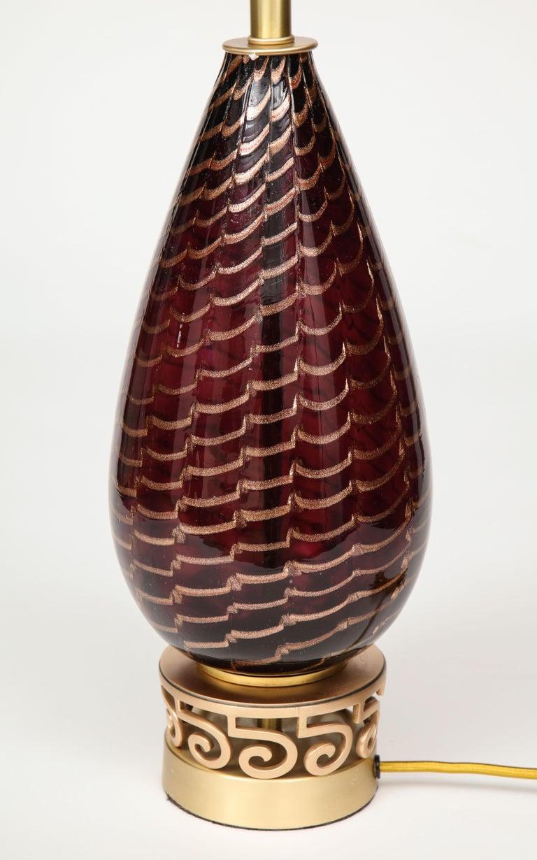 20th Century Aubergine Murano Glass Lamps For Sale