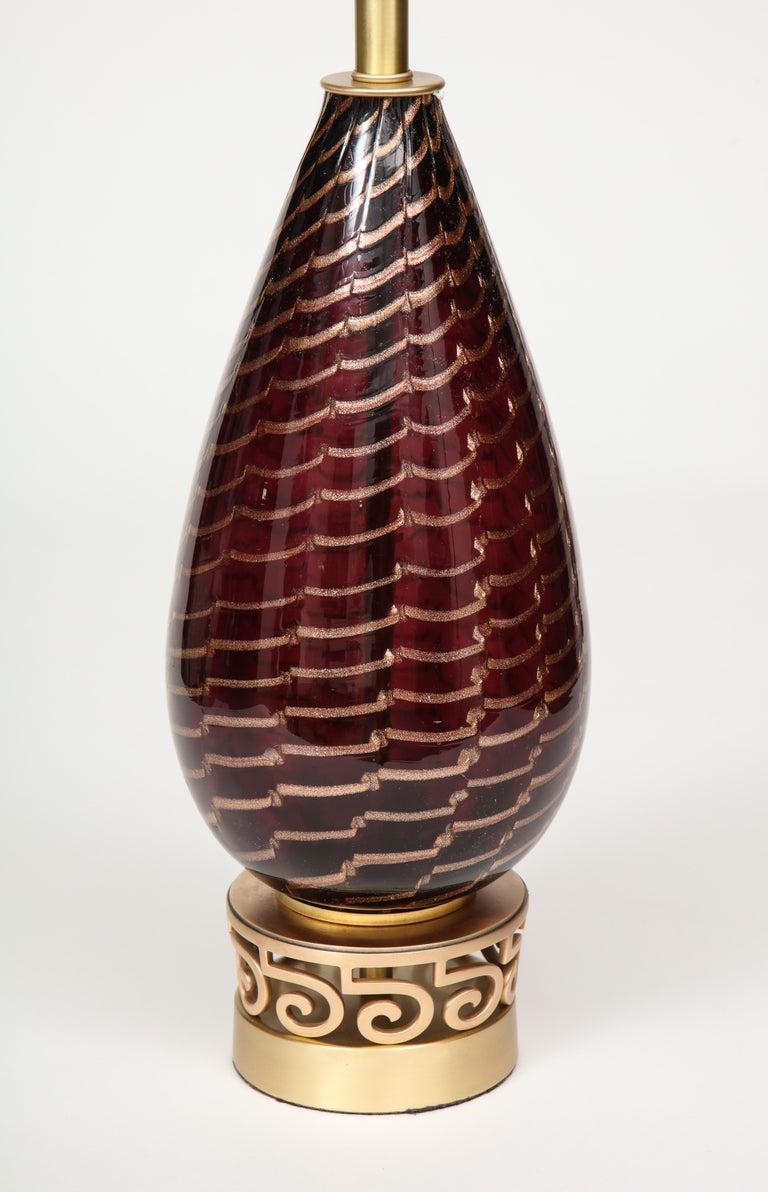 Brass Aubergine Murano Glass Lamps For Sale