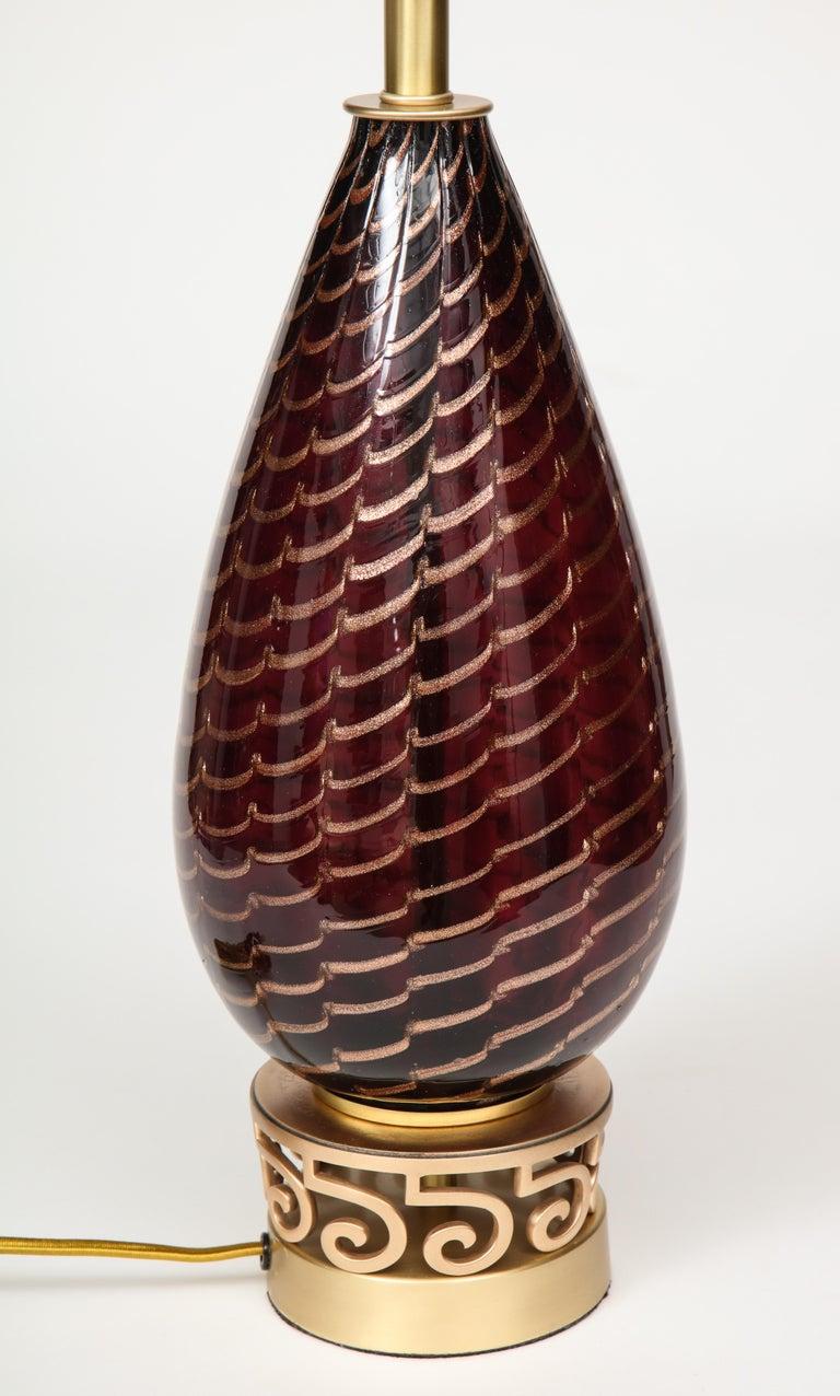 Aubergine Murano Glass Lamps For Sale 1