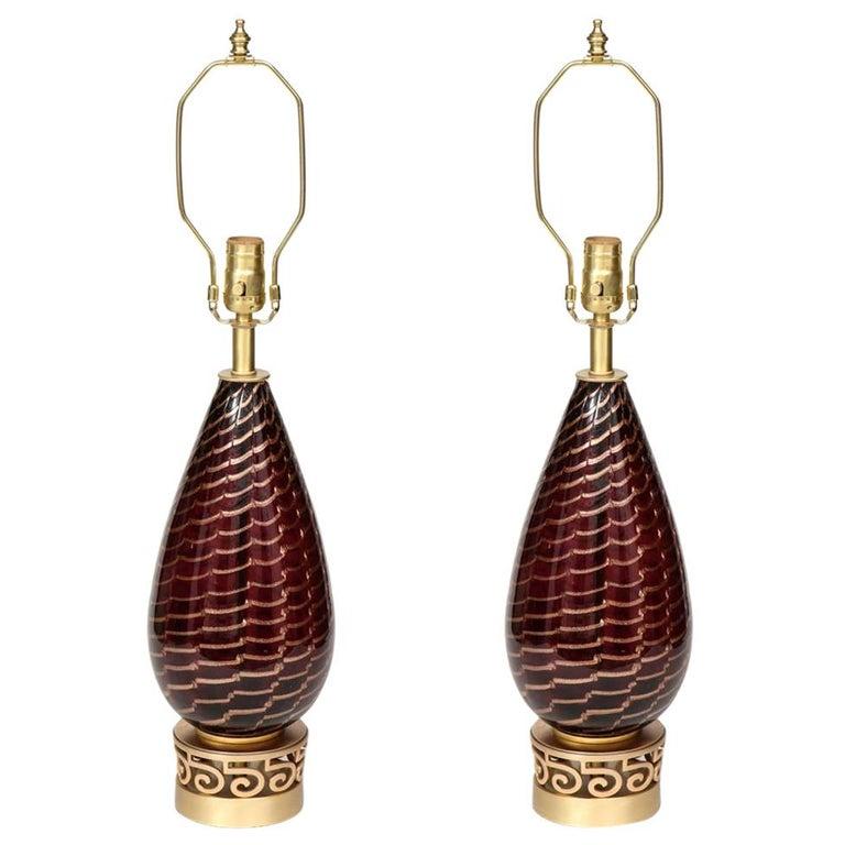 Aubergine Murano Glass Lamps For Sale