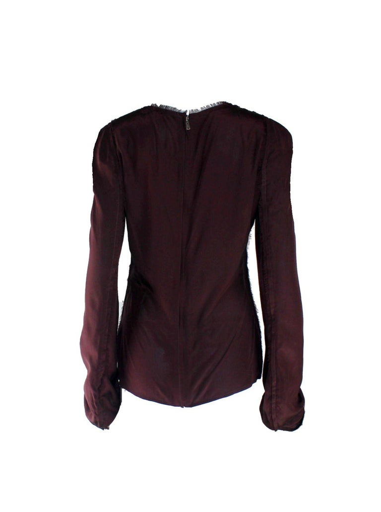 Aubergine Yves Saint Laurent by Tom Ford 2002 YSL Tulle Silk Jacket Blazer In Excellent Condition For Sale In Switzerland, CH