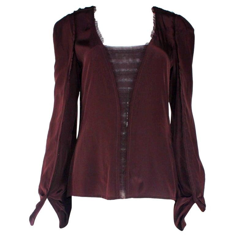 Aubergine Yves Saint Laurent by Tom Ford 2002 YSL Tulle Silk Jacket Blazer For Sale