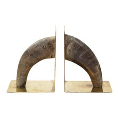 Auböck Bookends, Horn and Brass, Signed