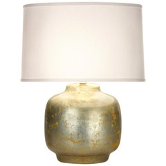 Aubrey Table Lamp in Silver and Yellow Ceramic by CuratedKravet