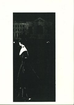 A Night Piece - Original Lithograph by Aubrey Beardsley - 1970s