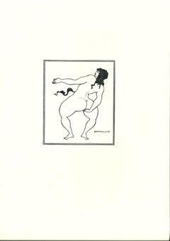 Attitude de Batyllus - Original Lithograph after Aubrey Beardsley - 1970