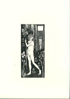 L'Homme et le Satyre - Original Lithograph after Aubrey Beardsley - 1970