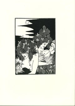 The Trap of the Harvest - Original Lithograph after Aubrey Beardsley - 1970