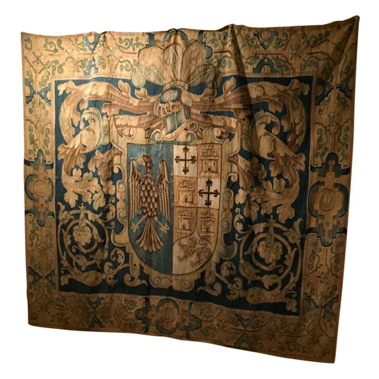 """Aubusson """"Armorial"""" Tapestry, France, 17th Century For Sale"""