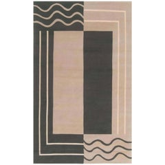 Aubusson Design Geometric Rug in Beige and Deep Green