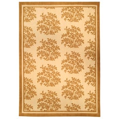 Aubusson Design Handmade Rug in Brown and Orange