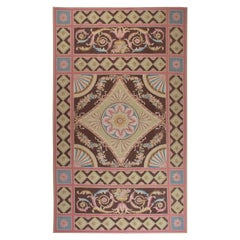 Aubusson Design Rug in Blue, Brown, Green, and Pink