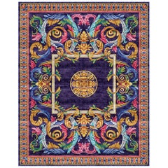 Aubusson Heraldry Heritage Hand Knotted Silk Rug (Small-size)