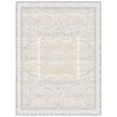 Aubusson Heraldy Antique White - Floral Ornament Hand Knotted Wool Silk Rug