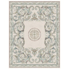 Aubusson Heraldy Bleu de France, Designer Luxury Hand Knotted Wool Silk Rug