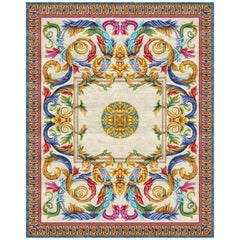 Aubusson Heraldy Floral Grotesque - Multicolor Luxury Hand Knotted Wool Silk Rug