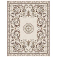 Aubusson Heraldy Palais Royal, Designer Lux Hand Knotted Wool Silk Rug