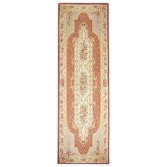 Aubusson Runner Rug, Handmade Carpet Chinese Rug Floral Tapestry