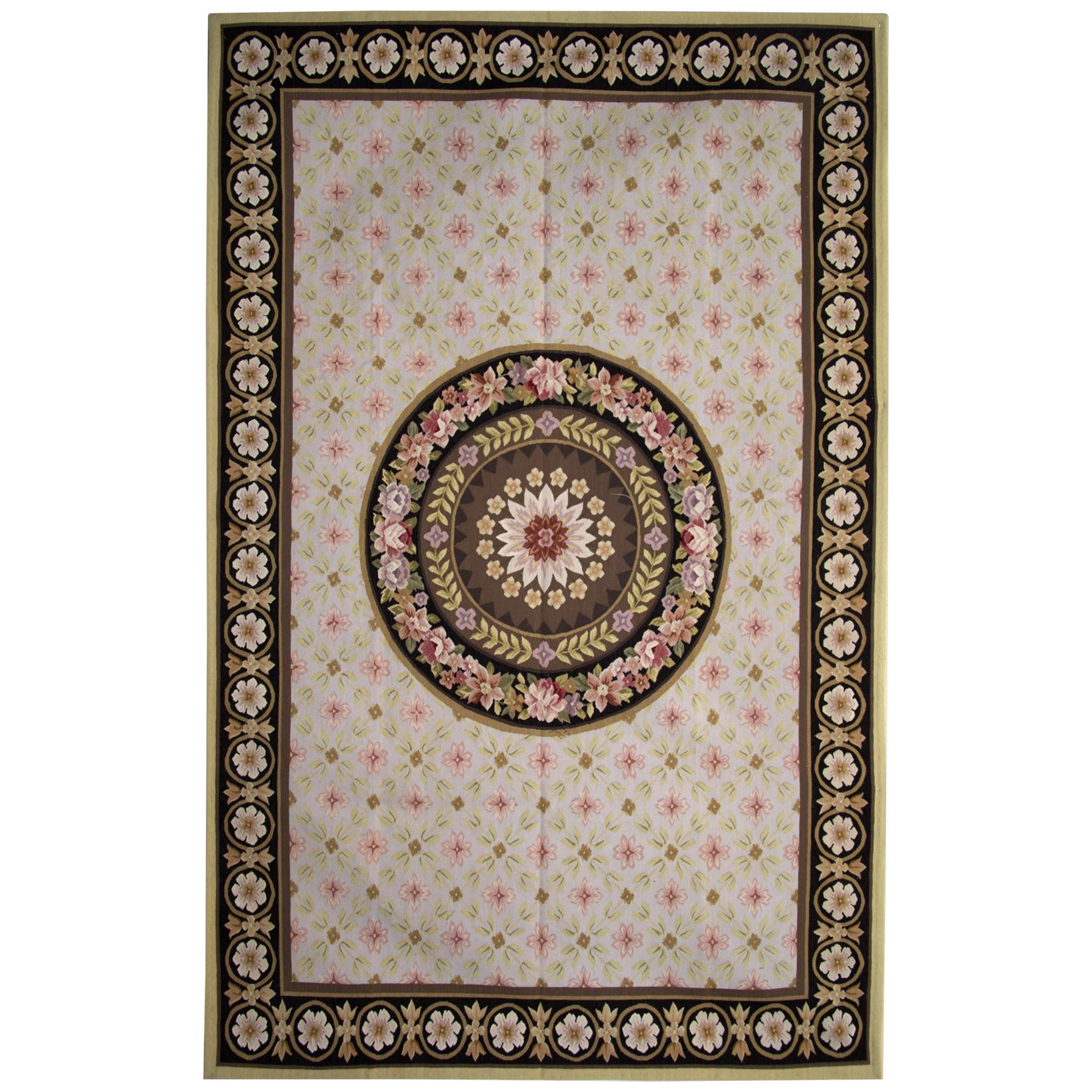 Aubusson Style Carpet Tapestry Area Rug Handwoven Wool Needlepoint