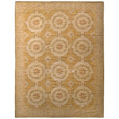 Aubusson Style Flat Weave Beige-Brown Floral Pattern by Rug & Kilim
