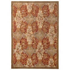 Aubusson Style Flat-Weave Beige-Brown Red Floral Pattern by Rug & Kilim