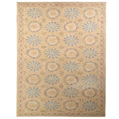 Aubusson Style Flat-Weave Rug in Beige Gold Floral Pattern by Rug & Kilim