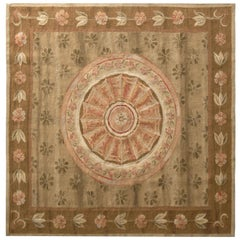 Aubusson Style Kilim Beige Brown and Pink Floral Rug by Rug & Kilim