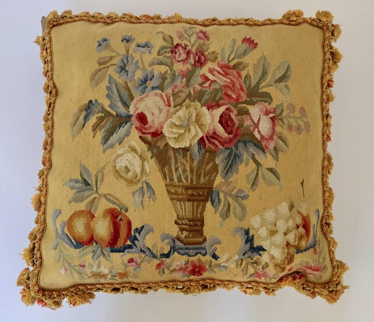Aubusson Style Large Tapestry Decorative Pillow For Sale 3