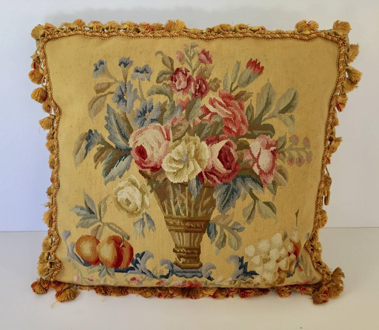 Large decorative French Aubusson style tapestry pillow backed with silk velvet. Beautiful vintage French Provincial pillow with Aubusson style roses and decorative floral bouquet. Needlepoint tapestry pillow with decorative bouquet of French roses