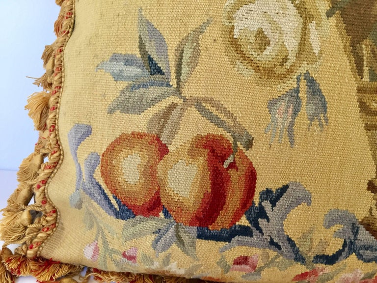 French Provincial Aubusson Style Large Tapestry Decorative Pillow For Sale
